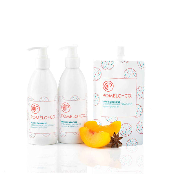 <b>THE GOJI ESSENTIALS SET</b> <br>Peach Paradise Shampoo + Conditioner + </br>Goji Treatment