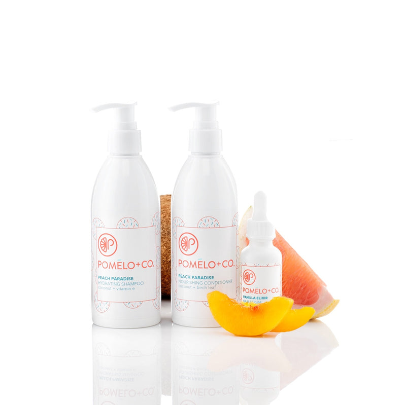 <b>THE SOFTY SET</b> <br>Peach Paradise Shampoo + Conditioner + </br>Vanilla Hair Elixir