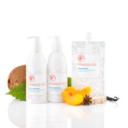 <b>THE ESSENTIALS SET</b> <br>Peach Paradise Shampoo + Conditioner + </br>Vanilla Boost Treatment