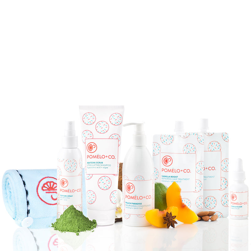 <b>THE MATCHA QUEEN SET</b> <br>2 Vanilla Boost Treatment + Elixir + Texture Spray + Matcha Scrub Shampoo + Conditioner