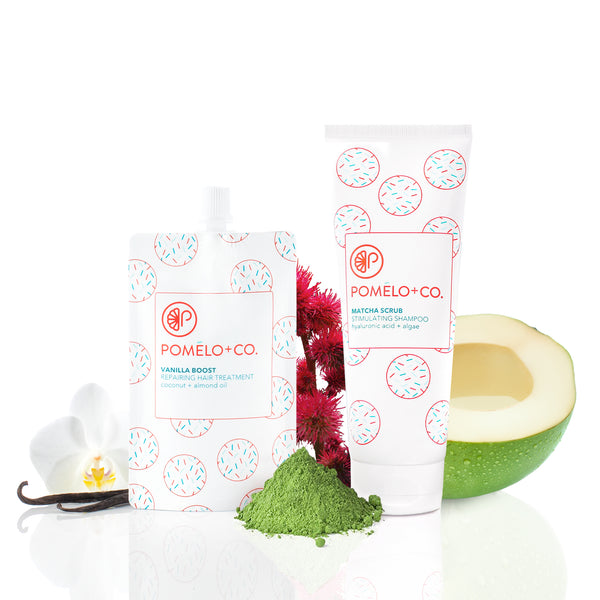 <b>MATCHA VANILLA SET</b> <br>Matcha Scrub Shampoo + Vanilla Treatment