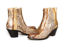 Load image into Gallery viewer, Bottega di Lisa White/Brown/Gold Python Booties