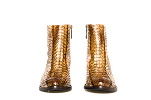 Bottega di Lisa White/Brown/Gold Python Booties