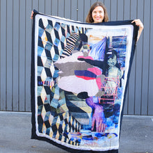 Load image into Gallery viewer, Washed silk, raw cut printed scarf