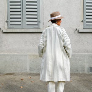 White Pinstripes Trench Coat