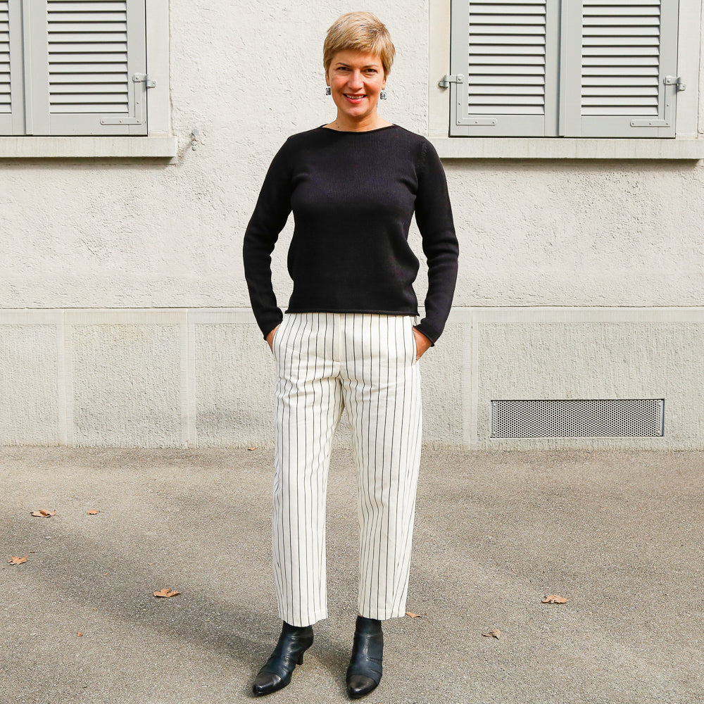 White Pinstripes Trousers