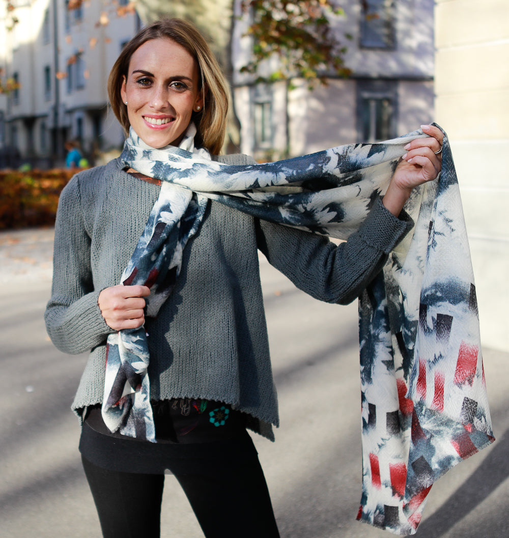 Wool/Silk Abstract Grey-Red White Scarf