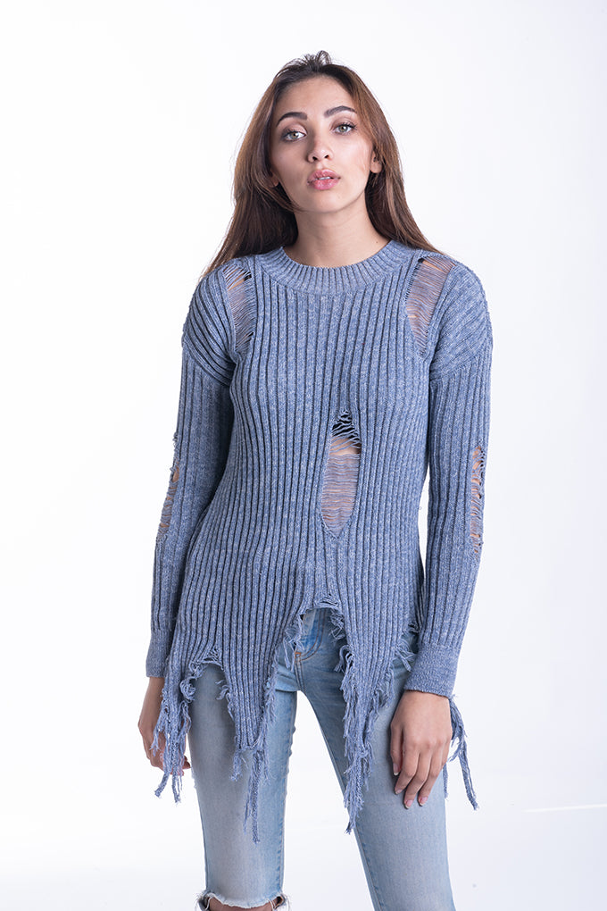 Damsel In Distressed Knit - Blue