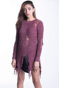 Damsel In Distressed Knit - Burgundy
