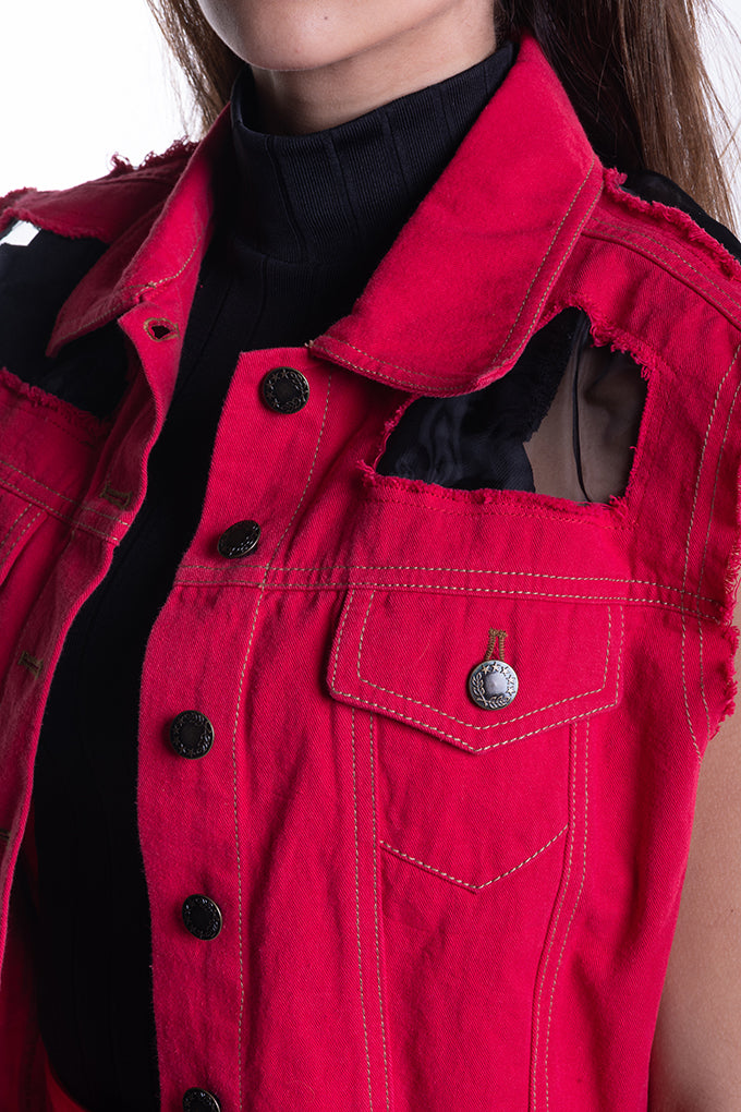 Sleeveless Denim Jacket - Red