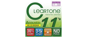 Cleartone Treated Acoustic Guitar Strings Set- 7611 80/20 Bronze - Custom Light