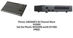 Phonic AM2442FX 24 Input Mixer + Get MAX2500 Amplifier FREE!