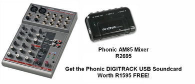 Phonic AM85 6 Channel Mixer + FREE Digitrack Soundcard