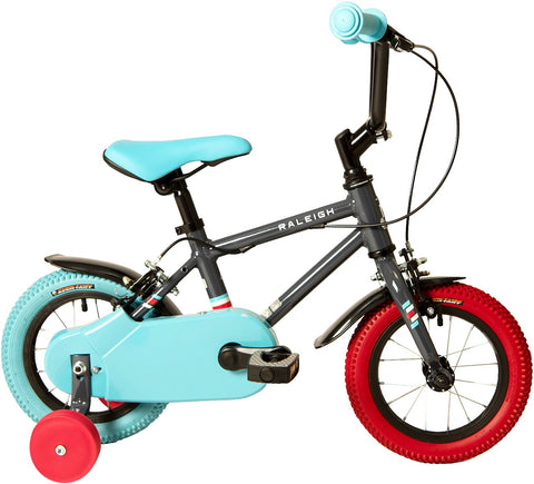 Raleigh Pop 12 inch wheel grey, aqua blue and red boys bike with mudguards and stabilisers.
