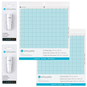 "2 Silhouette Cameo 4 Autoblades & 2 - 12"" x 12"" Cutting Mat Combo Pack Silhouette Silhouette"