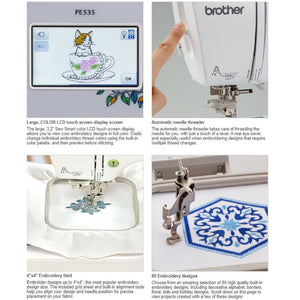 "Brother PE535 Embroidery Machine with 4"" x 4"" Hoop Brother Sewing Bundle Brother"