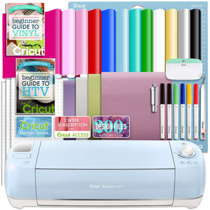 Cricut Blue Explore Air 2 Vinyl And Heat Transfer Vinyl Bundle Cricut Bundle Cricut