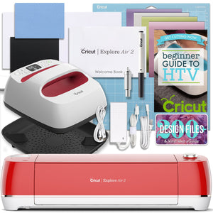 "Cricut Red Explore Air 2 and EasyPress Bundle Cricut Bundle Cricut 6"" x 7"" EasyPress 2"