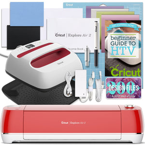 "Cricut Red Explore Air 2 and EasyPress Bundle Cricut Bundle Cricut 9"" x 9"" EasyPress 2"