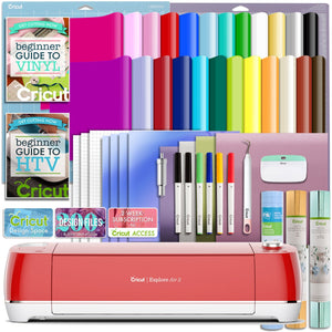 Cricut Red Explore Air 2 Deluxe Vinyl And Heat Transfer Vinyl Bundle Cricut Bundle Cricut