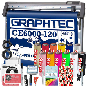 "Graphtec CE6000-120 PLUS - 48"" Professional Vinyl Cutter HTV Bundle with BONUS Software - Swing Design"
