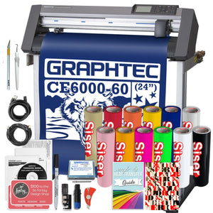 "Graphtec PLUS CE6000-60 24"" Vinyl Cutter with BONUS Software, 2 Year Warranty, Siser HTV - Swing Design"