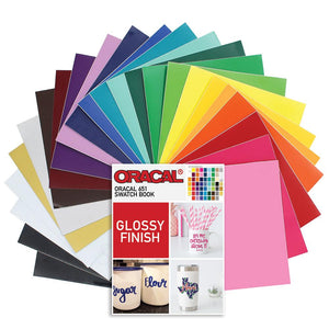 "Oracal 651 Vinyl Bundle 12"" x 12"" - 24 Assorted Colors With Swatch Book - Swing Design"