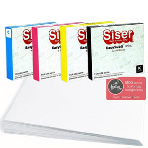 Sawgrass EasySubli SG400 & SG800 Ink Bundle, 4 Inks, 100 Sheets, Designs Sublimation Sawgrass