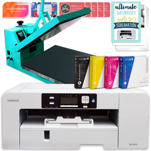 "Sawgrass UHD Virtuoso SG1000 Sublimation Printer & 15"" Turquoise Heat Press Bundle Sublimation Bundle Sawgrass"
