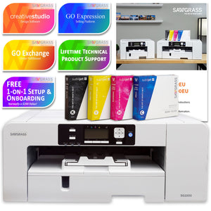 Sawgrass UHD Virtuoso SG1000 Sublimation Printer w/ 8-in-1 Heat Press Sublimation Bundle Sawgrass