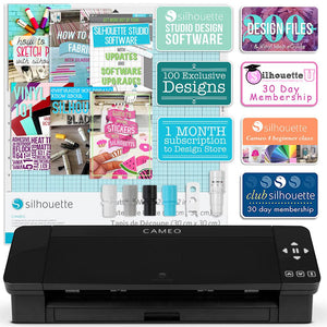Silhouette Black Cameo 4 Creative Bundle w/ 26 Oracal 651 Sheets, 12 Siser HTV Sheets - Swing Design