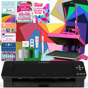 Silhouette Black Cameo 4 Heat Press T-Shirt Bundle with Pink Heat Press, Siser HTV Silhouette Bundle Silhouette