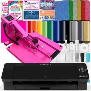 "Silhouette Black Cameo 4 w/ 15"" x 15"" Pink Slide Out Heat Press Bundle Silhouette Bundle Silhouette"