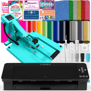 "Silhouette Black Cameo 4 w/ 15"" x 15"" Turquoise Slide Out Heat Press Bundle Silhouette Bundle Silhouette"