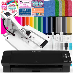"Silhouette Black Cameo 4 w/ 15"" x 15"" White Slide Out Heat Press Bundle Silhouette Bundle Silhouette"