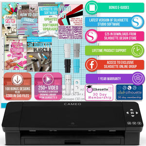Silhouette Black Cameo 4 w/ 26 Oracal Glossy Sheets, Guides, 24 Sketch Pens, and More - Swing Design