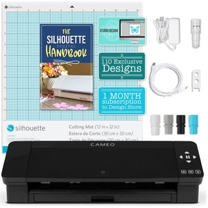 Silhouette Black Cameo 4 w/ Updated Autoblade, 3x Speed, Roll Feeder Silhouette Bundle Silhouette