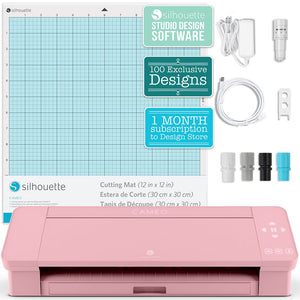 Silhouette Blush Pink Cameo 4 Business Bundle w/ Oracal Vinyl, Guides, Software, Tools - Swing Design