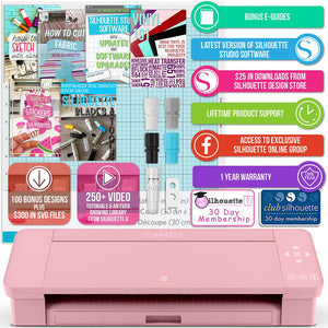 Silhouette Blush Pink Cameo 4 Heat Press T-Shirt Bundle with Pink Heat Press, Siser HTV - Swing Design