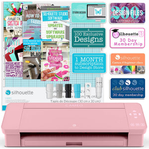 Silhouette Blush Pink Cameo 4 w/ Updated Autoblade, 3x Speed, Roll Feeder Silhouette Bundle Silhouette