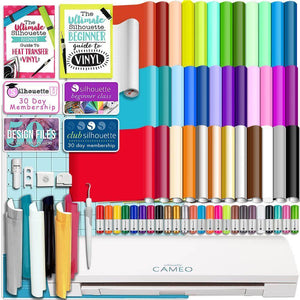 Silhouette Cameo 3 Bluetooth Bundle 36 Oracal Sheets, Siser HTV, Guides, 24 Pack Pens - Swing Design