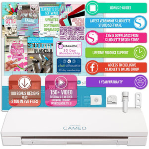 Silhouette Cameo 3 Bluetooth Bundle with 12 Siser EasyWeed Sheets and 12 Oracal 651 Sheets - Swing Design