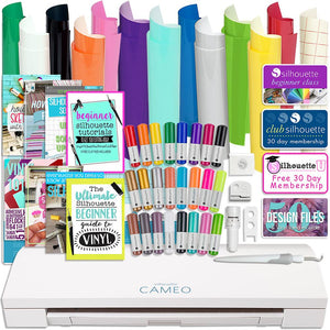 Silhouette Cameo 3 Bluetooth Bundle with Oracal 651 Permanent Vinyl, Sketch Pens and Guide - Swing Design