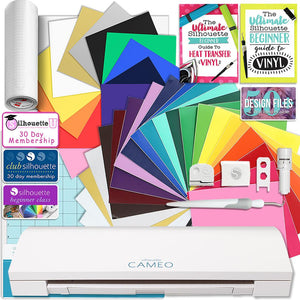 Silhouette CAMEO 3 Bluetooth Creative Bundle with 24 Oracal 651 Sheets and 12 Siser Easyweed Heat Transfer Sheets - Swing Design