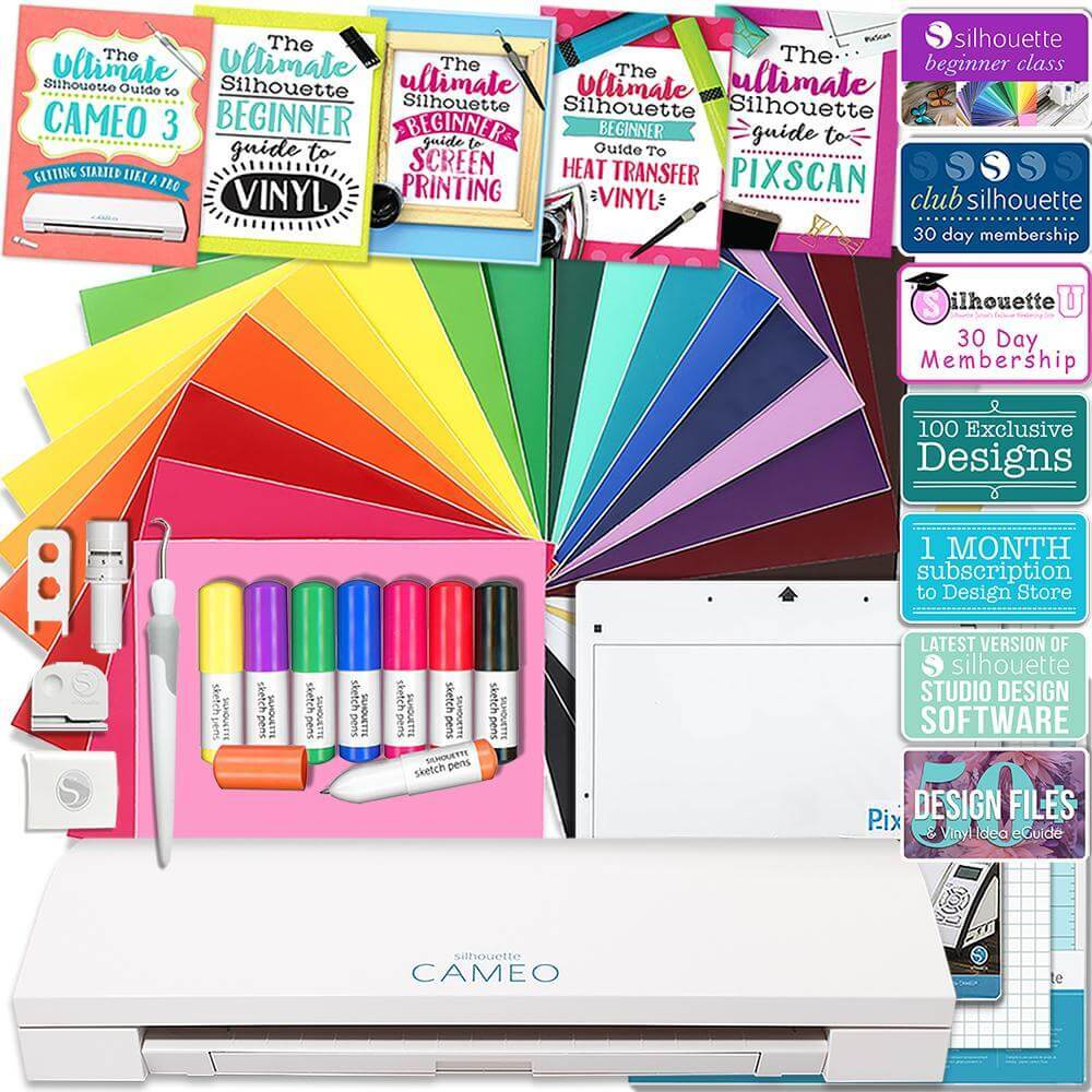 Class Membership Siser Easyweed T-Shirt Vinyl Transfer Paper Guide Silhouette Glitter Pink Cameo 3 Bluetooth Starter Bundle with 36 12x12 Oracal Sheets 24 Sketch Pens