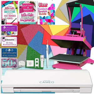 Silhouette Cameo 3 Bluetooth Heat Press T-Shirt Bundle with Pink Heat Press, Siser Vinyl, and More - Swing Design