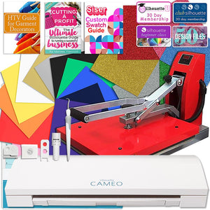 Silhouette Cameo 3 Bluetooth Heat Press T-Shirt Business Bundle with Heat Press, Guides and More - Swing Design