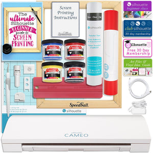 Silhouette Cameo 3 Bluetooth Screen Print T-Shirt Starter Bundle with Speedball Screen Print Kit - Swing Design