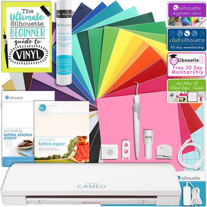 Silhouette Cameo 3 Bluetooth Touch Screen Bundle 24 Oracal 651 Sheets, Tattoo & Sticker Paper & More - Swing Design