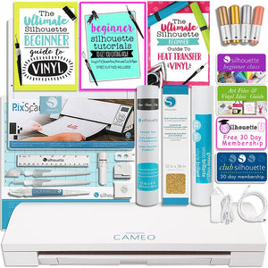Silhouette Cameo 3 Bluetooth Touch Screen Bundle with Guide Books, Online Class, Vinyl and More - Swing Design